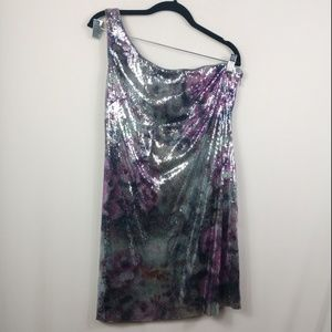 Adrianna Papell Boutique Floral Sequin Dress